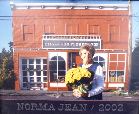 Norma Jean Branstetter In Front of Silverton Flower Shop