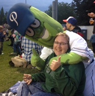 Lindsay and the Portland Pickle's mascot